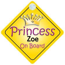 Princesse zoé à bord fille voiture signe enfant/bébé-cadeau/présent 002