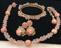 Rare Vintage Signed Miriam Haskell Gilt Pink Wedding Cake Glass Bead 3 Pc Set A5