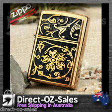 Zippo Lighter Gold Floral Flush --20903--- Free Shipping-- Oz Seller