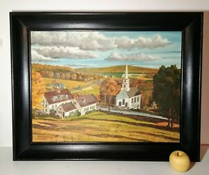 Vintage 1961 Landscape Oil Painting Pennsylvania Autumn New England Church River