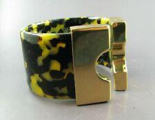 FAUX TORTOISE Wide Plastic BANGLE CUFF BRACELET Bright Gold BLACK/CREAM Lucite?