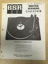 BSR Service & User Manual for the C141 C141R Turntable Record Changer