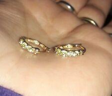 Genuine peridot hoop earrings solid sterling silver 925 18K gld pl