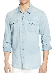 John Varvatos Star USA Men's Faded Denim Western Snap Front Shirt Blue Mist XL