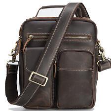 Full Grain Leather Messenger Bag for Men Hiking Crossbody Shoulder Bag Schoolbag