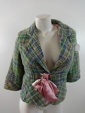 ANGIE WOMENS GREEN & PINK WOVEN COTTON JACKET SIZE L CUTE!