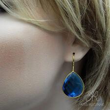WOW ● 25mm ● große blaue Facetten Ohrringe Sterling Silber 925 vergoldet