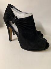 Nine West Evenly Black Suede Peep Toe Booties 6 Stillettos Heels New Zipper New