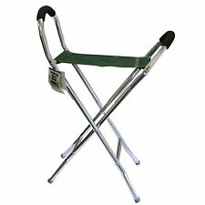 Lightweight aluminium folding walking seat stick scissor chair stool