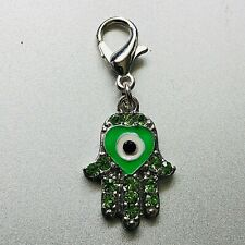 Heart Hamsa Hand Peridot Swarovski Crystal Elements Evil Eye Clip Charm Silver