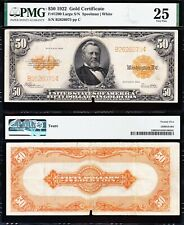 RARE 1922 $50 *GOLD CERTIFICATE*! PMG 25 cmt. FREE SHIPPING! B2626075
