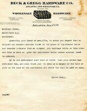 1920 BECK & GREGG HARDWARE CO ATLANTA RAILWAY & MILL SUPPLIES  ILLUS LETTERHEAD