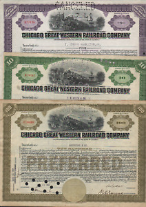 3 Stks Chicago Great Western RR Preferred 3 Different Colors 2-1930s & 1-1941
