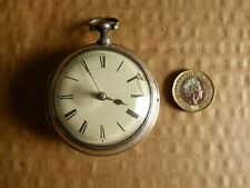 1799 Edgerton London solid silver pair cased verge fusee pocket watch