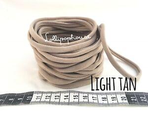 10 Light Tan Wholesale Nylon Headbands, Elastic One Size Fits Baby Adult
