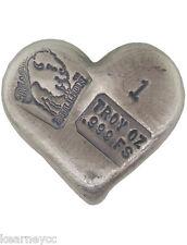 1 TROY OUNCE .999 FINE SILVER HAND POURED BISON BULLION FANCY BAR HEART