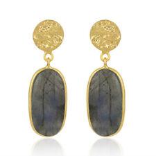 Labradorite Gemstone Drop Earrings 925 Silver Gold Plated Handmade Jewelry
