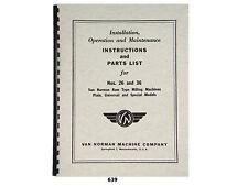 Van Norman 26 Amp 36 Milling Machine Operator Instructions Amp Parts Manual 639