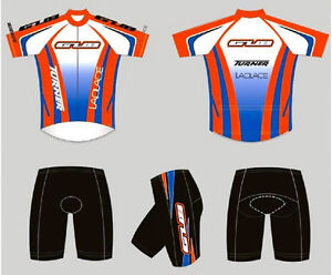 GUB Cycling Jersey and Short Set 1/2 Zipper, Lycra, Spandex Orange/Blue 2XL