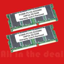 1GB Kit 2X 512MB SDRAM SODIMM PC133 144 Pin 133 LAPTOP RAM Memory