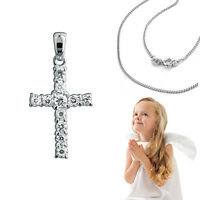 Taufe offene Arme Kreuz Schutz Engel Zirkonia Herz Anhänger mit Kette Silber 925