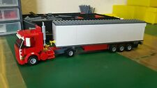 LEGO CITY CUSTOM 4 WHEEL TRUCK WITH TRI-AXL FRIDGE TRAILER MK3  L@@K