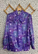 Vintage Blouse 80s Pussy Bow Electric Shirt Purple Large