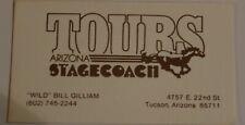 Tours Arizona Stagecoach Vintage Business Card Tucson Arizona