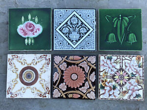 "Collection of 6 Vintage/Antique 6""x6"" Tiles Art Nouveau Victorian Edwardian"