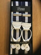 TAGGS PREMIUM NAVY/WHITE  RIGID STRIPE LEATHER END BRACES