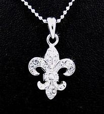 Fleur De Lis Silver Tone Austrian Crystal Pendant Charm Chain Necklace New