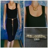 ST. JOHN Basics Santana Knit Black Dress L 12 10 Sleeveless Sheath LBD