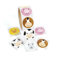 300 Farm ZOO Animal Face Stickers Birthday Party Favors PIG COW HORSE CHICKS