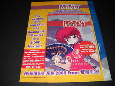 RANMA 1/2  Hard Battle exciting 3rd season Vintage ANIME Promo Ad mint condition
