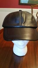 "Newsboy Cabbie Cap in Black Genuine Leather Size  X-Large 60cm 23.5"" NEW"