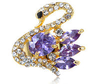 Zirconia Bead & Clear Crystal Rhines Body Pretty Purple Swan Ring Jewelry Gifts