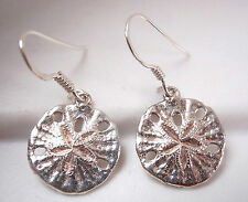 Sand Dollars 925 Sterling Silver Dangle Drop Earrings Imported from Thailand New