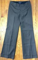Banana Republic Womens Martin Fit Dress Pants Gray Striped Cuffed Wool W28 L32