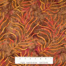 Bali Batik Fabric - Orange Palm Frond Brown - Princess Mirah Quilt Cotton YARD