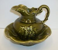 Vintage McCoy Avocado Green Pitcher & Bowl Basin Set - Excellent!!