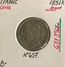 1 FRANC CERES - 1851A - Pièce de monnaie en Argent // B+