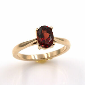 Natural Mozambique Garnet 14KT Yellow Gold 7x5mm Oval Ring (Sizes 4-9)
