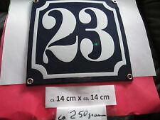 Hausnummer Emaille Nr. 23 weisse Zahl auf blauem Hintergrund 14 cm x 14 cm .....