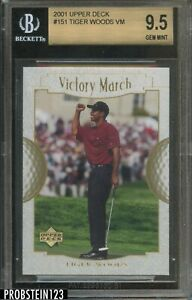 2001 Upper Deck UD Victory March Golf #151 Tiger Woods RC Rookie BGS 9.5