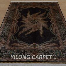YILONG 5.9'x8.2' Persian Handmade Silk Area Rugs Porch Indoor Home Carpet 0753