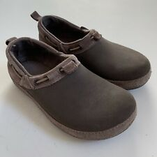 Crocs Surrey Brown Espresso Suede Leather Slip On Boat Shoes Clogs Womens Sz 5