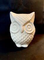 "Vintage Ceramic White Owl Coin Bank 4.5"""