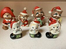 Vintage Lot Of 7 Homco Christmas Figurines Bears Raccoons Cat Mouse Dog Holiday