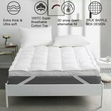 """3"""" Mattress Topper Pad Feather Bed Protector Pillow Top Cooling Cotton Plush Top"""