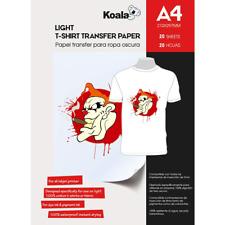 KOALA Inkjet Iron On T Shirt Transfer Paper for Light Fabrics x 20 Sheets, A4